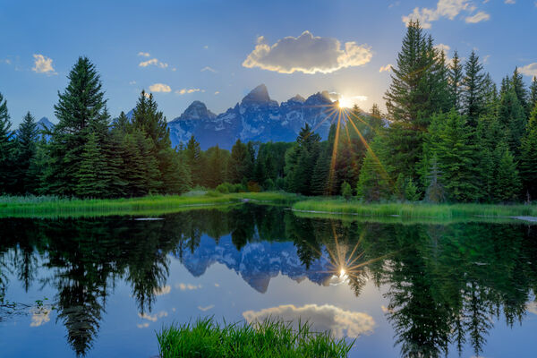 Wyoming, Tetons, Grand Tetons, Sunset, Sunbeams, Schwabachers Landing