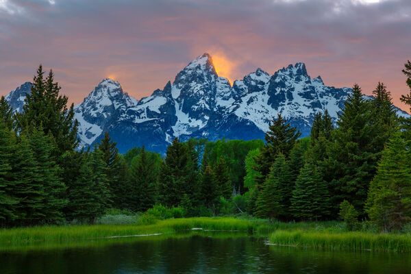 Wyoming, Tetons, Grand Tetons, Sunset, Beaver ponds, Schwabachers Landing