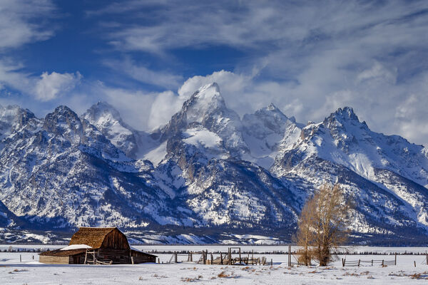 Wyoming, Tetons, Grand Tetons, winter, snow, Mormon Row