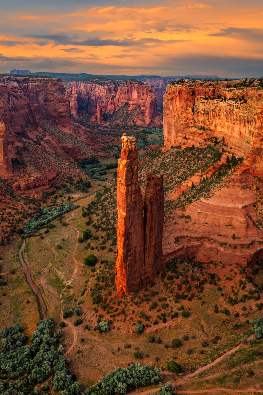 A Limited Edition, Fine Art photograph of beautiful sunset skies at Spider Rock at Canyon de Chelly National Monument in Arizona...