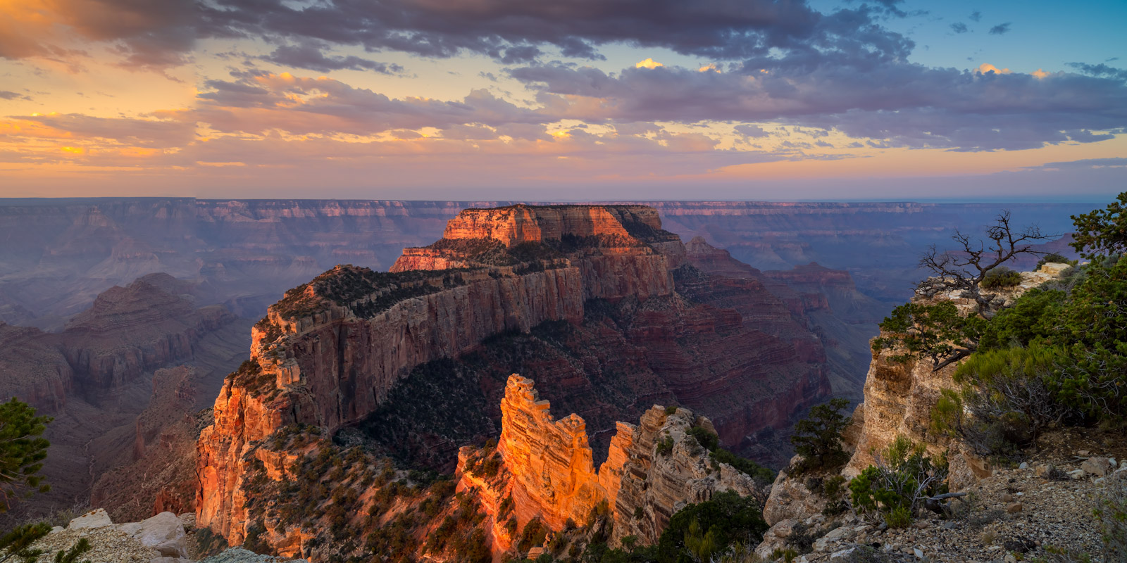 A Limited Edition, Fine Art photograph of sunrise lighting up the canyon at Cape Royal at the North Rim in Grand Canyon National...