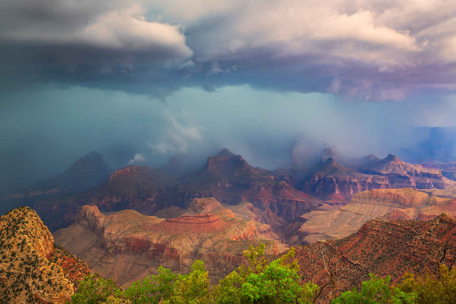 Arizona, Grand Canyon, Storm, Rain, Clouds, photo