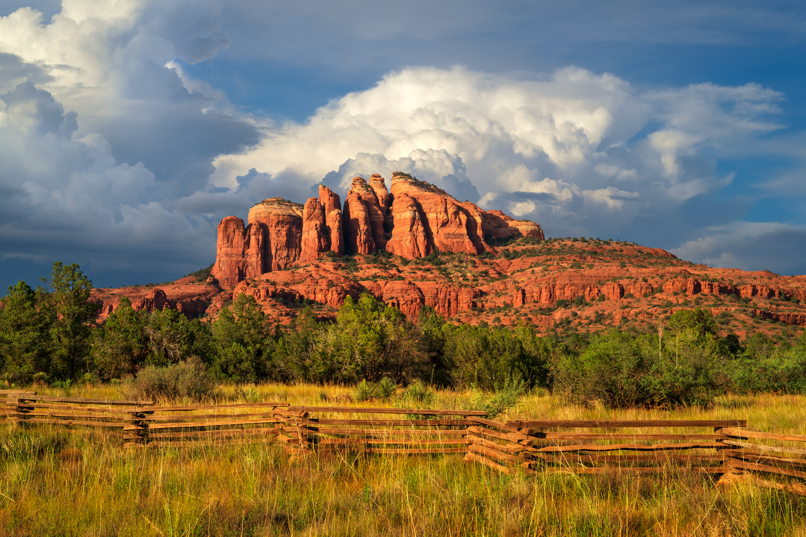Arizona, Sedona, Cathedral, Rock, Red, Rock, Country, Sunset, Fence