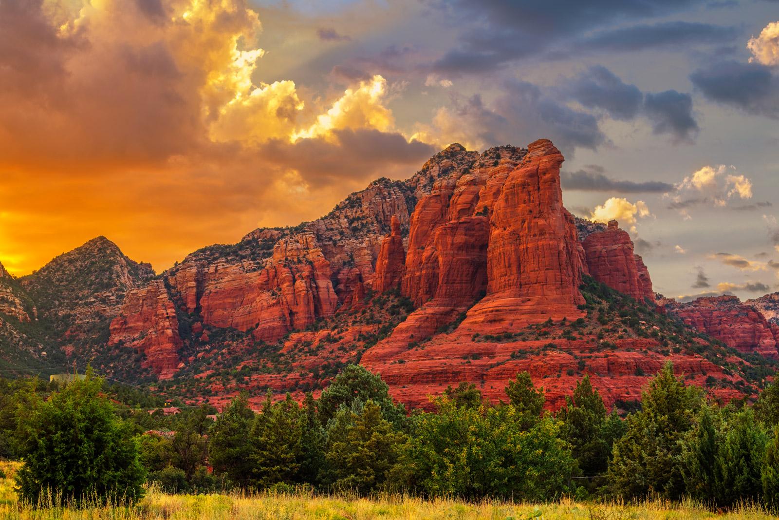 Arizona, Sedona, Sunset, Sugarloaf, Mountain, photo