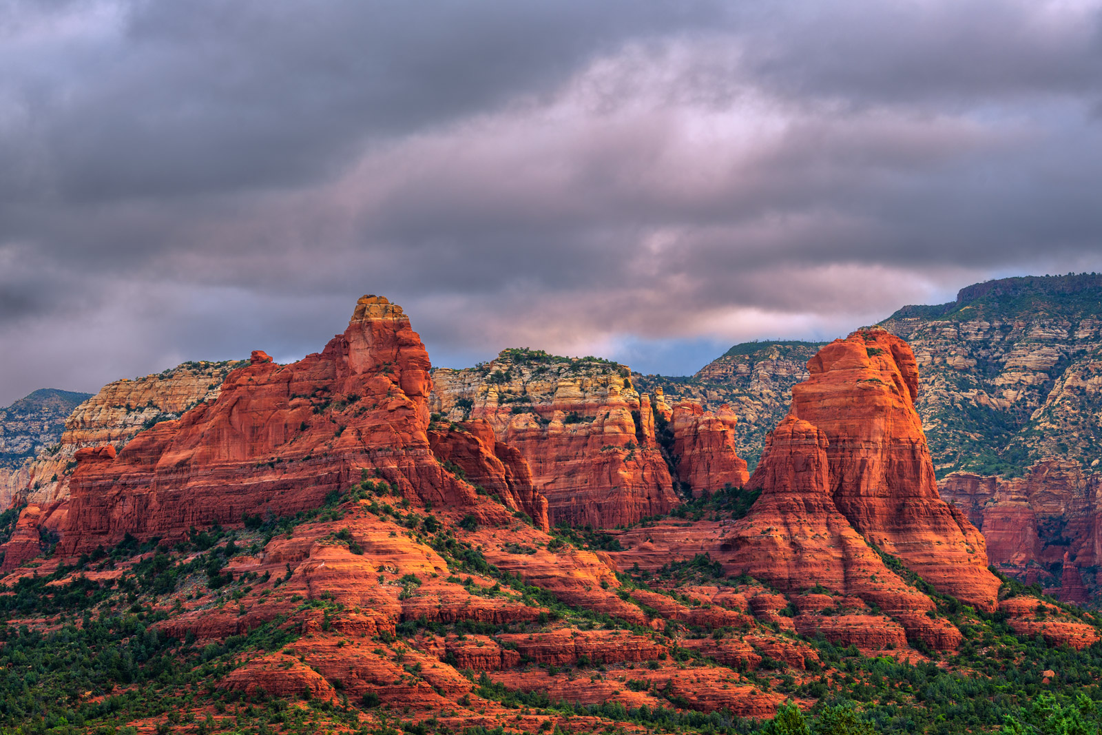 Arizona, Sedona, Sunrise, Red, Rock, dark clouds, limited edition, photograph, fine art, landscape, red rock, photo