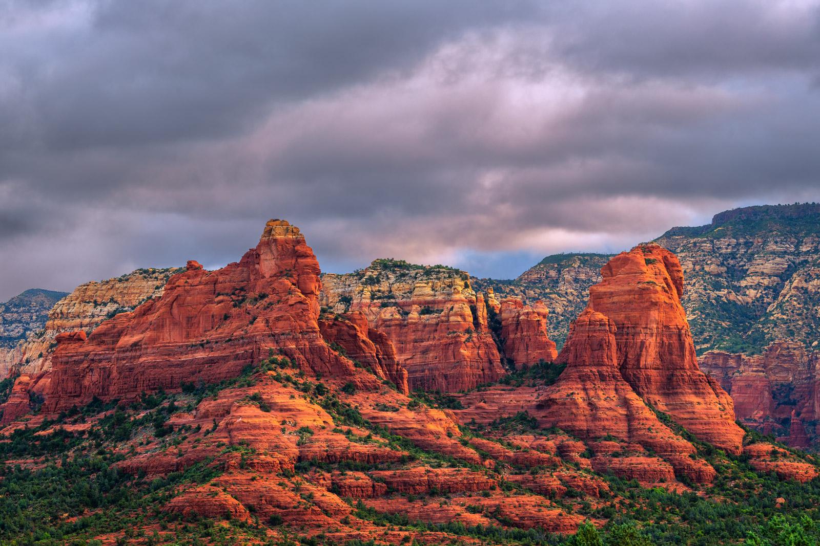 Arizona, Sedona, Sunrise, Red, Rock, dark clouds, red rock, photo