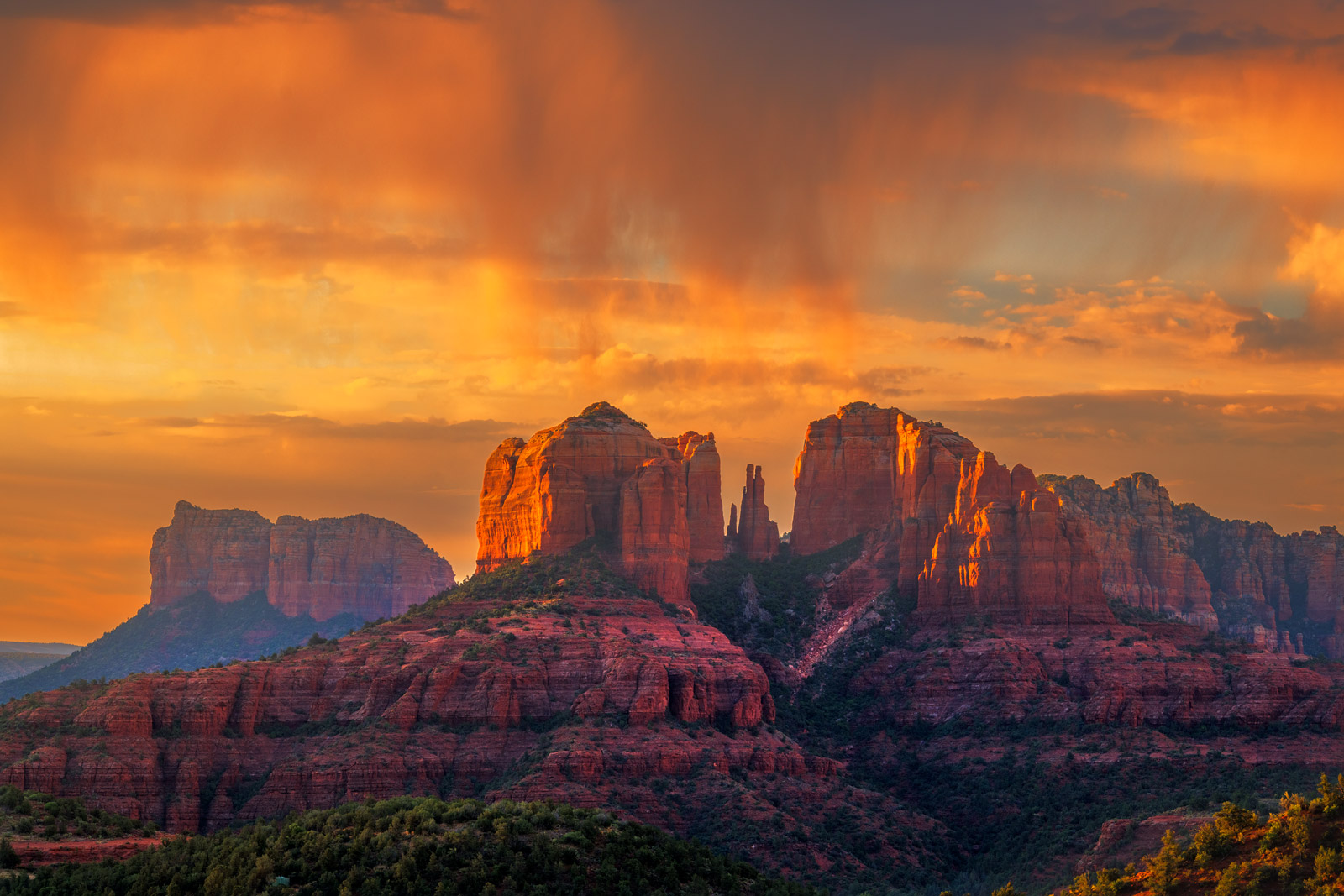 Arizona, Sedona, Sunrise, Cathedral, Peaks