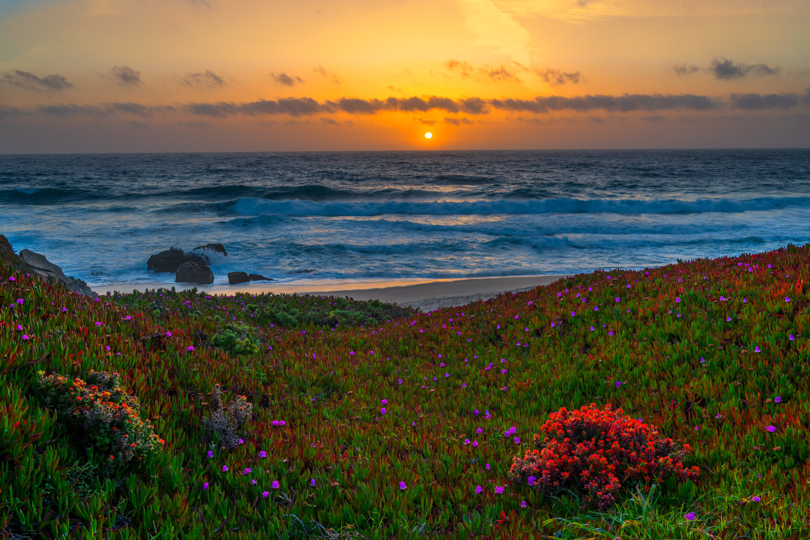 A Limited Edition, Fine Art photograph of sunset at Garapatta Beach on the Big Sur Coast in California. Available as a Fine Art...