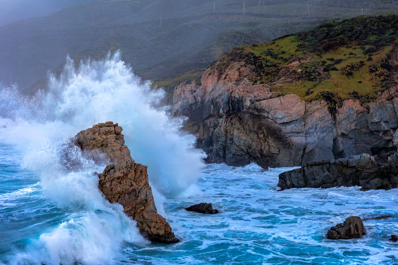 California, Garrapata, Storm, Wave
