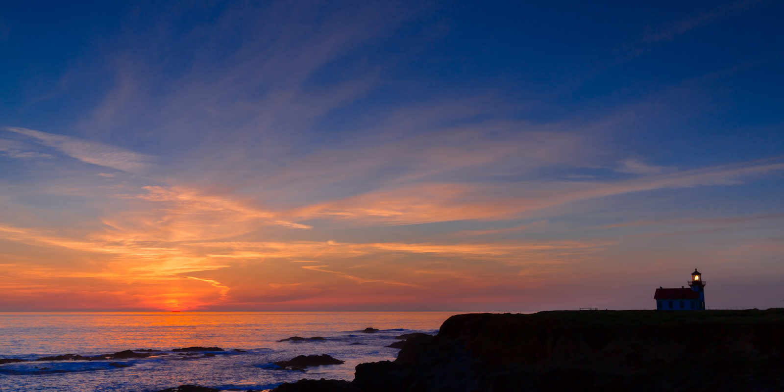 A Limited Edition, Fine Art photograph of a stunning sunset at the Cabrillo Lighthouse in Mendocino, California.  Available as...