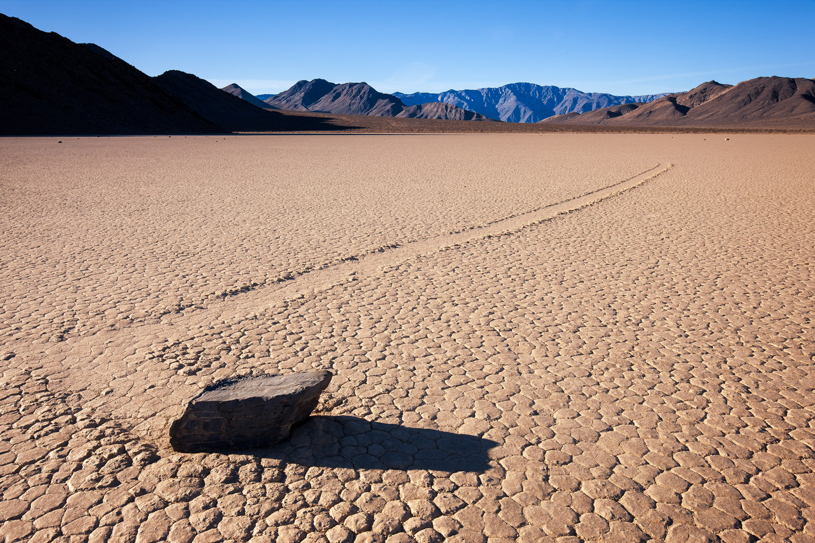 """A Limited Edition, Fine Art photograph the left turn by one of the """"moving rocks"""" at The Racetrack in Death Valley National Park..."""