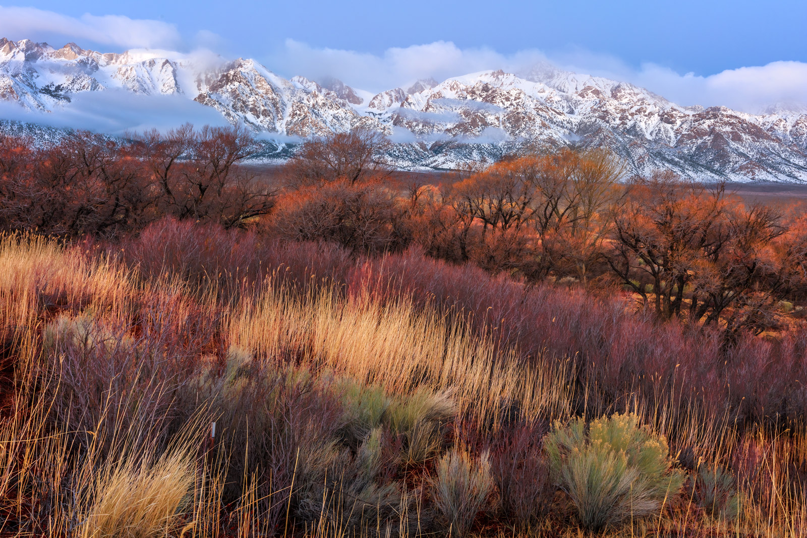 California, Eastern Sierra, Winter. Mountain, Sunset