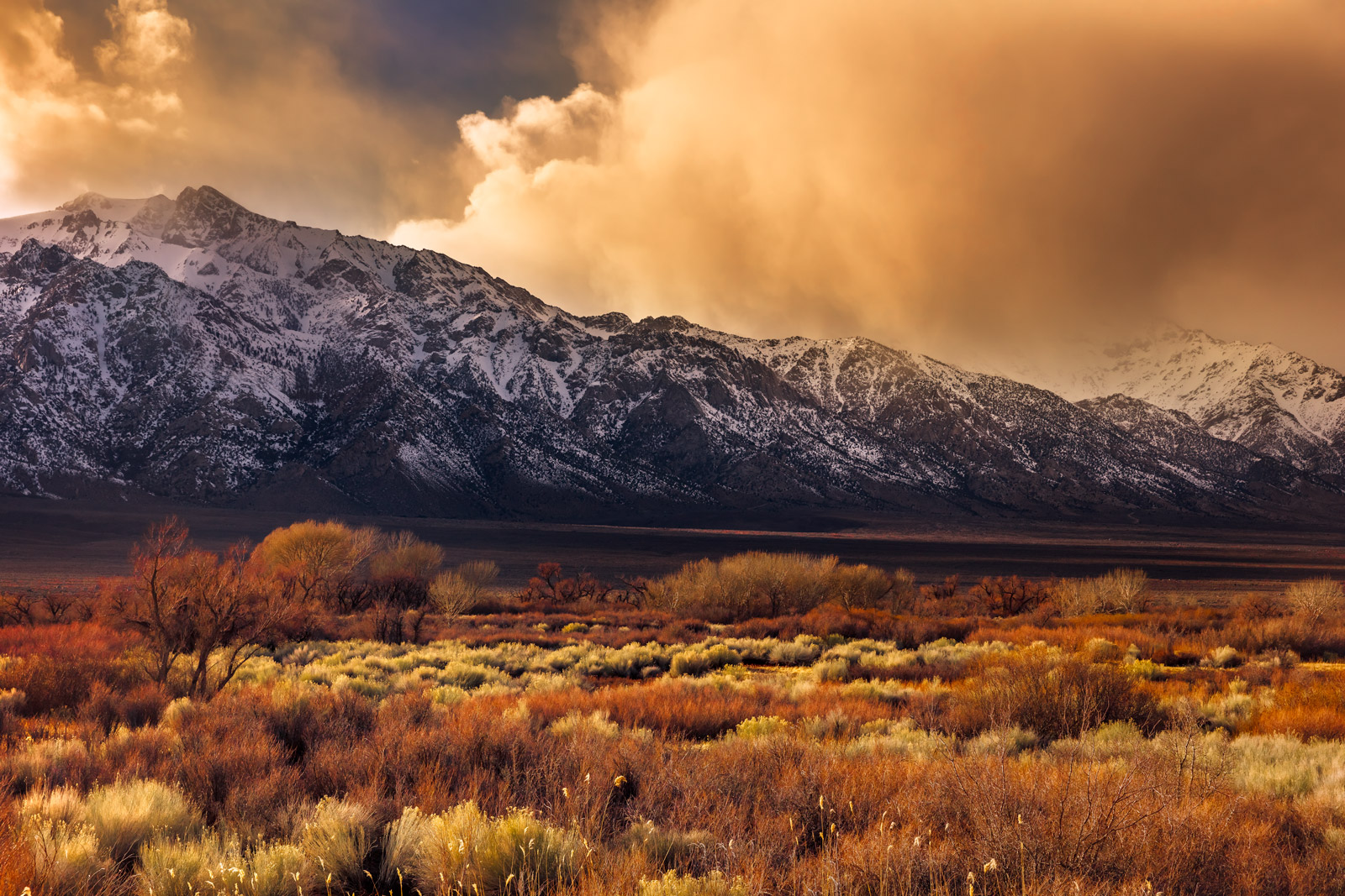 California, Eastern Sierra, Winter, Sunset, Mountain