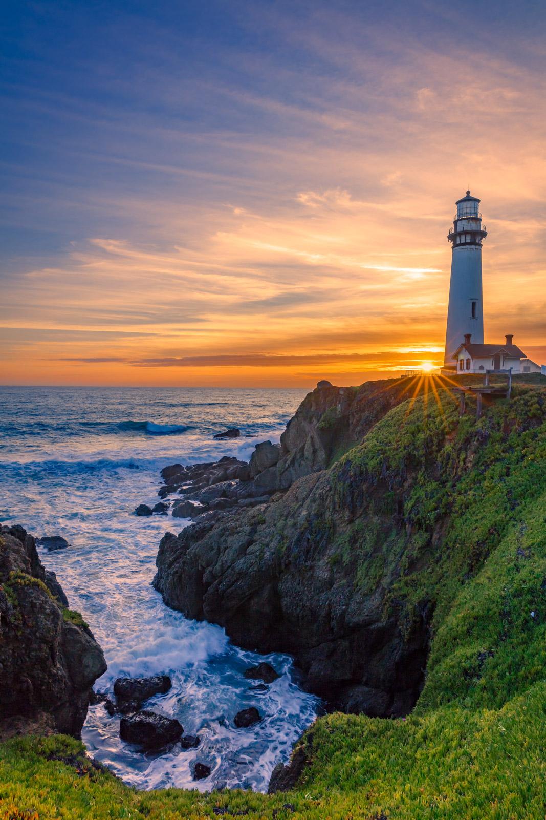 California Coast, Pigeon Point, Lighthouse, Sunset, coast, Pacific Coast, photo