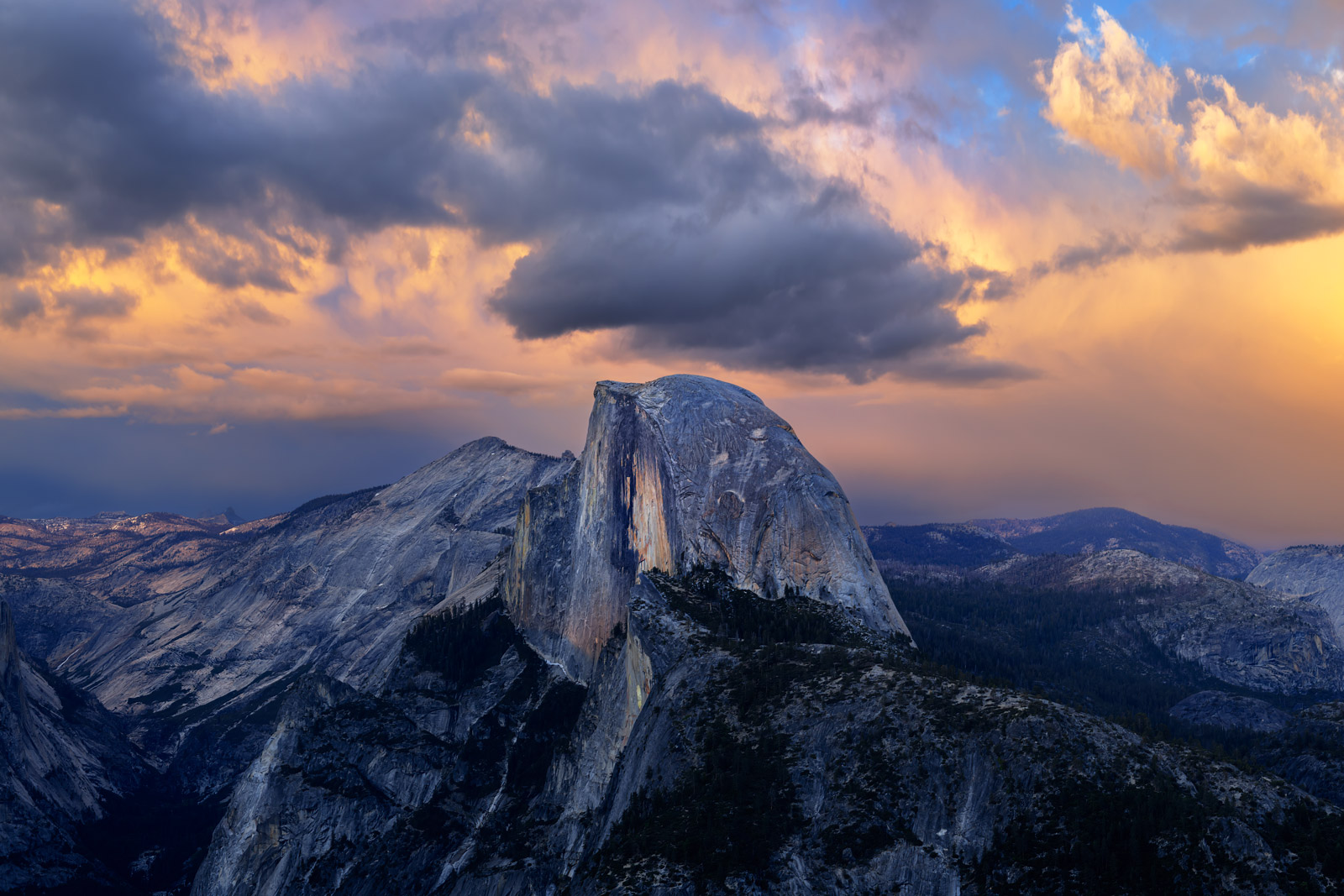 A Limited Edition, Fine Art photograph of Half Dome from Glacier Point just after sunset at Yosemite National Park in California...