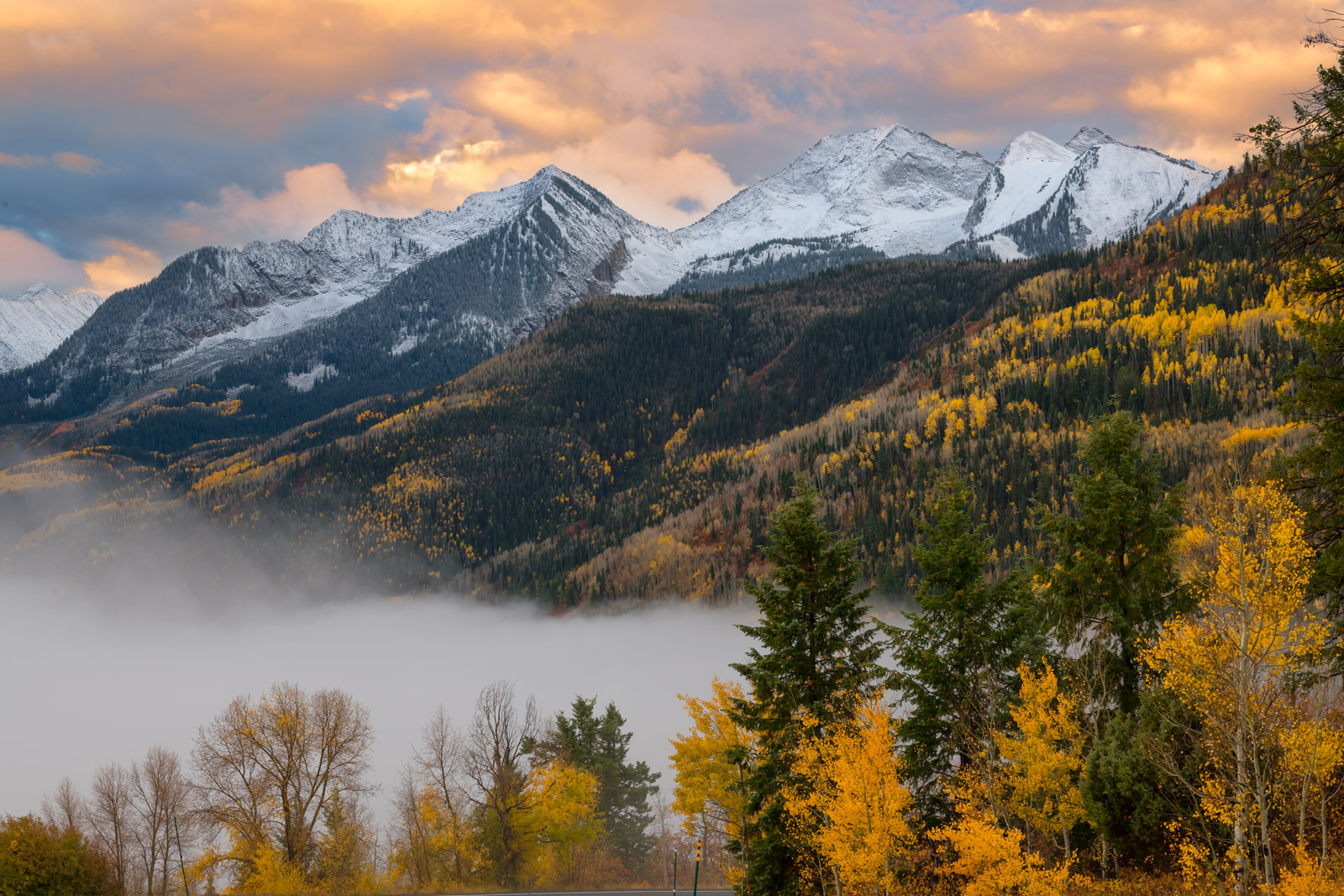 Colorado, Mountain, McClure Pass, Fall, Color, Sunrise