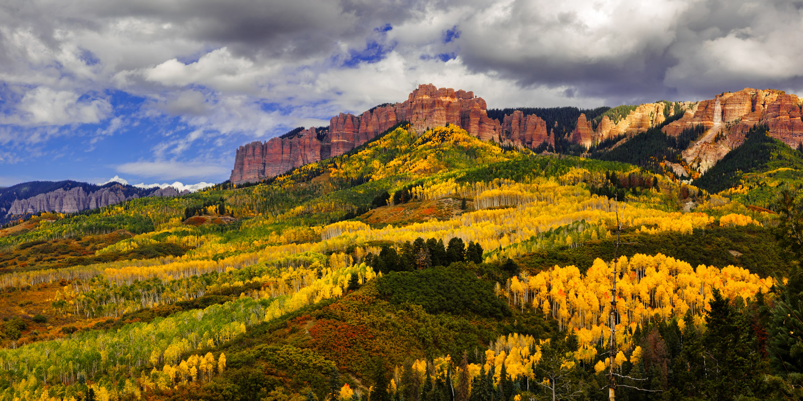 A Limited Edition, Fine Art photograph of fall colors in the valley beneath Cimarron Ridge in the San Juan Mountains of Southwest...