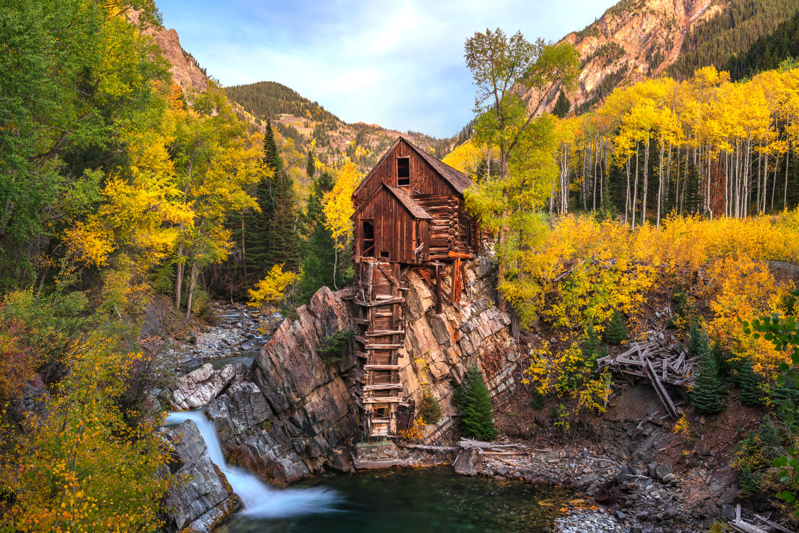 A Limited Edition, Fine Art photograph of the iconic Crystal Mill surrounded by brilliant fall colors in the San Juan Mountains...