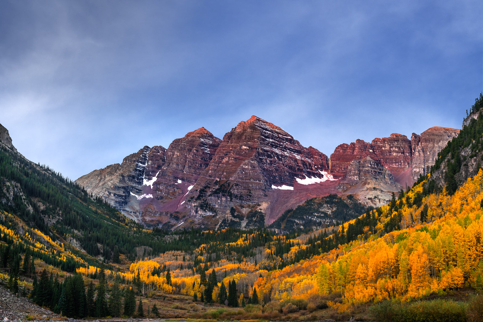 A Limited Edition, Fine Art photograph of Maroon Peak and other mountains that are known as Maroon Bells due to their bell-shaped...