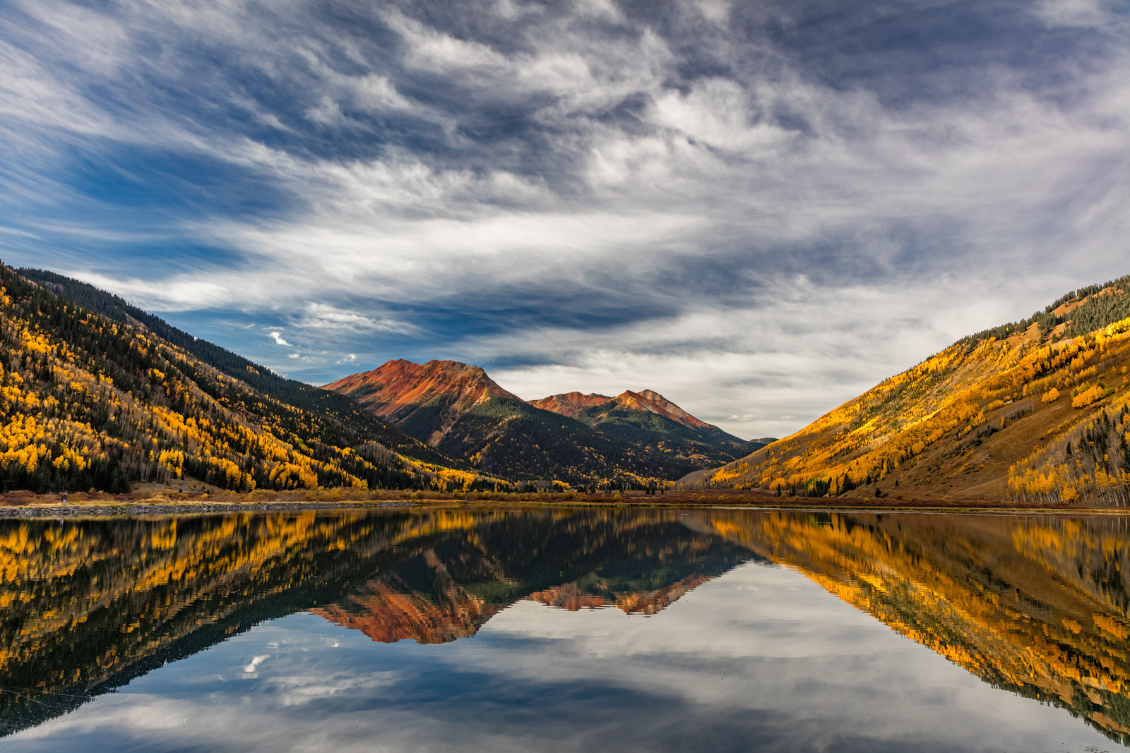 Colorado, Red Mountain, Crystal Lake, Reflection, Fall