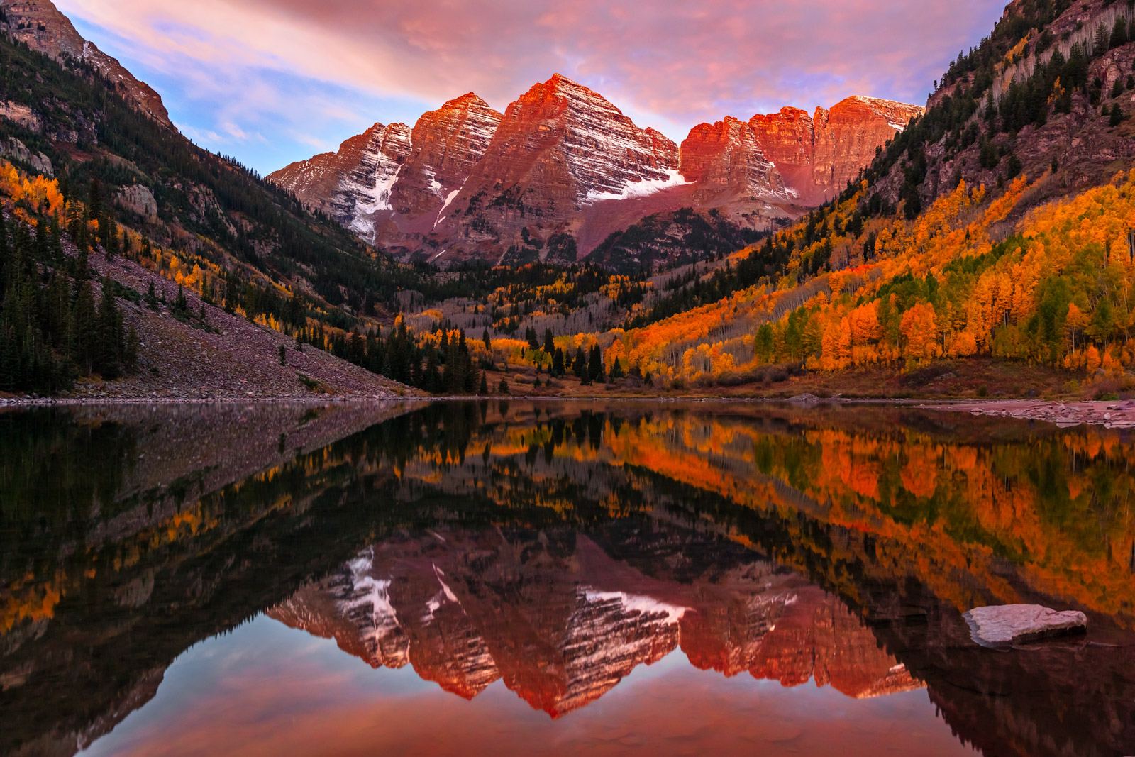Colorado, Maroon Lake, Maroon Bells, Sunrise, Fall, Aspen