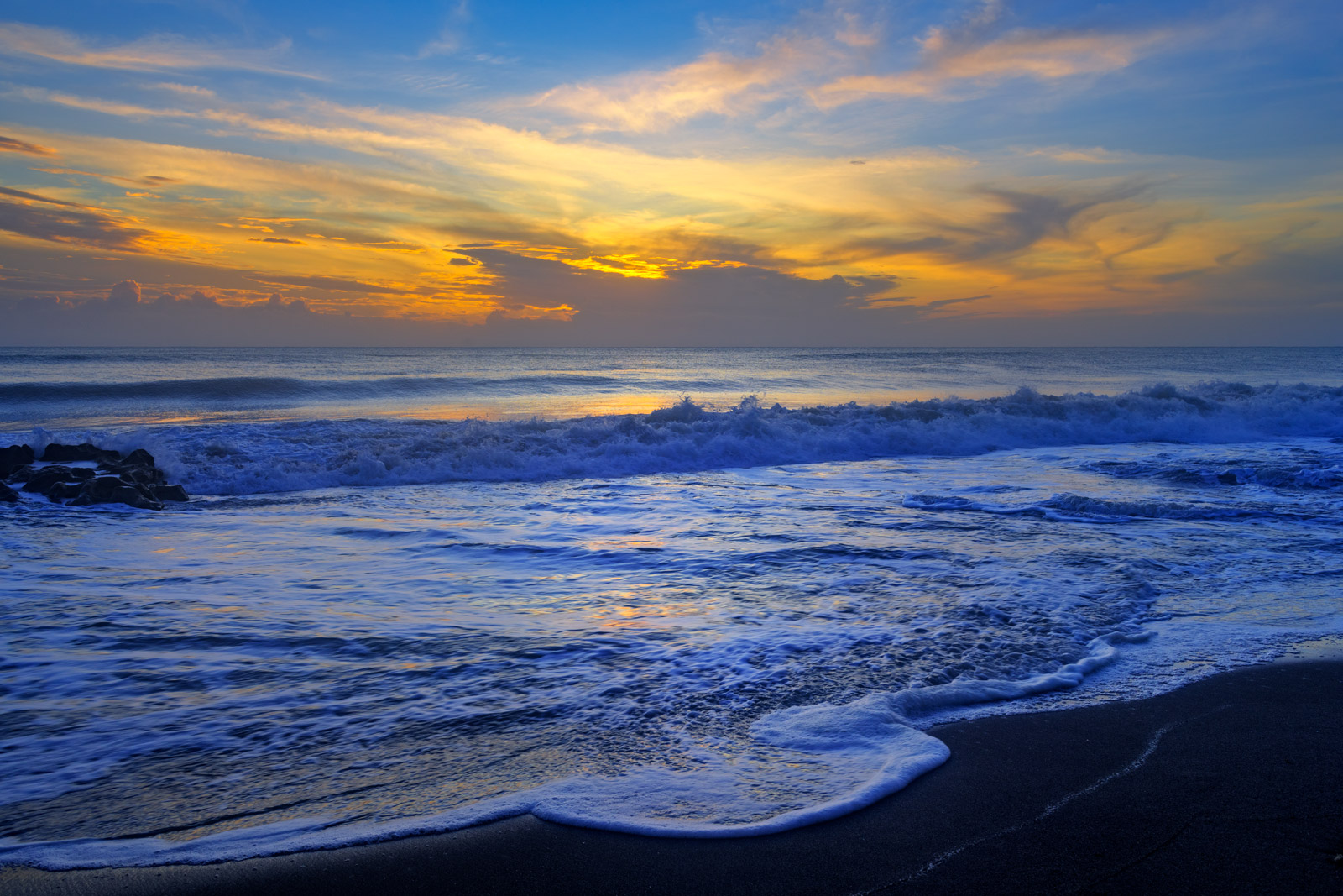 Florida, Tequesta, Beach, Sunrise, Foam, Waves, Coral Cove, Atlantic Coast, photo