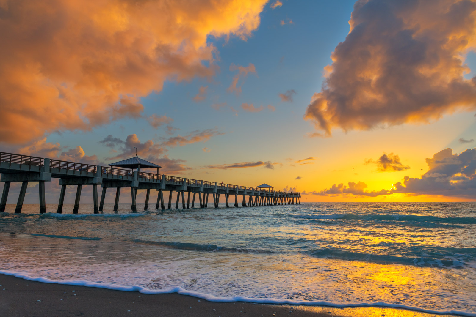 A Limited Edition, Fine Art photograph of the Juno Beach pier in Juno Beach, Florida with a stunning sunrise over the Atlantic...