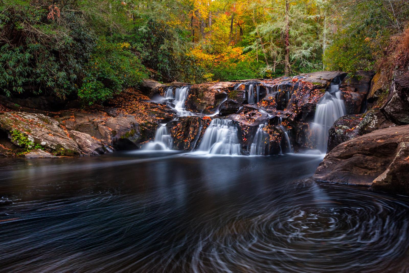 Georgia, Dicks Creek, Dicks Creek Falls, Waterfall, River, Swirls, limited edition, photograph, fall colors, fine art, landscape, photo