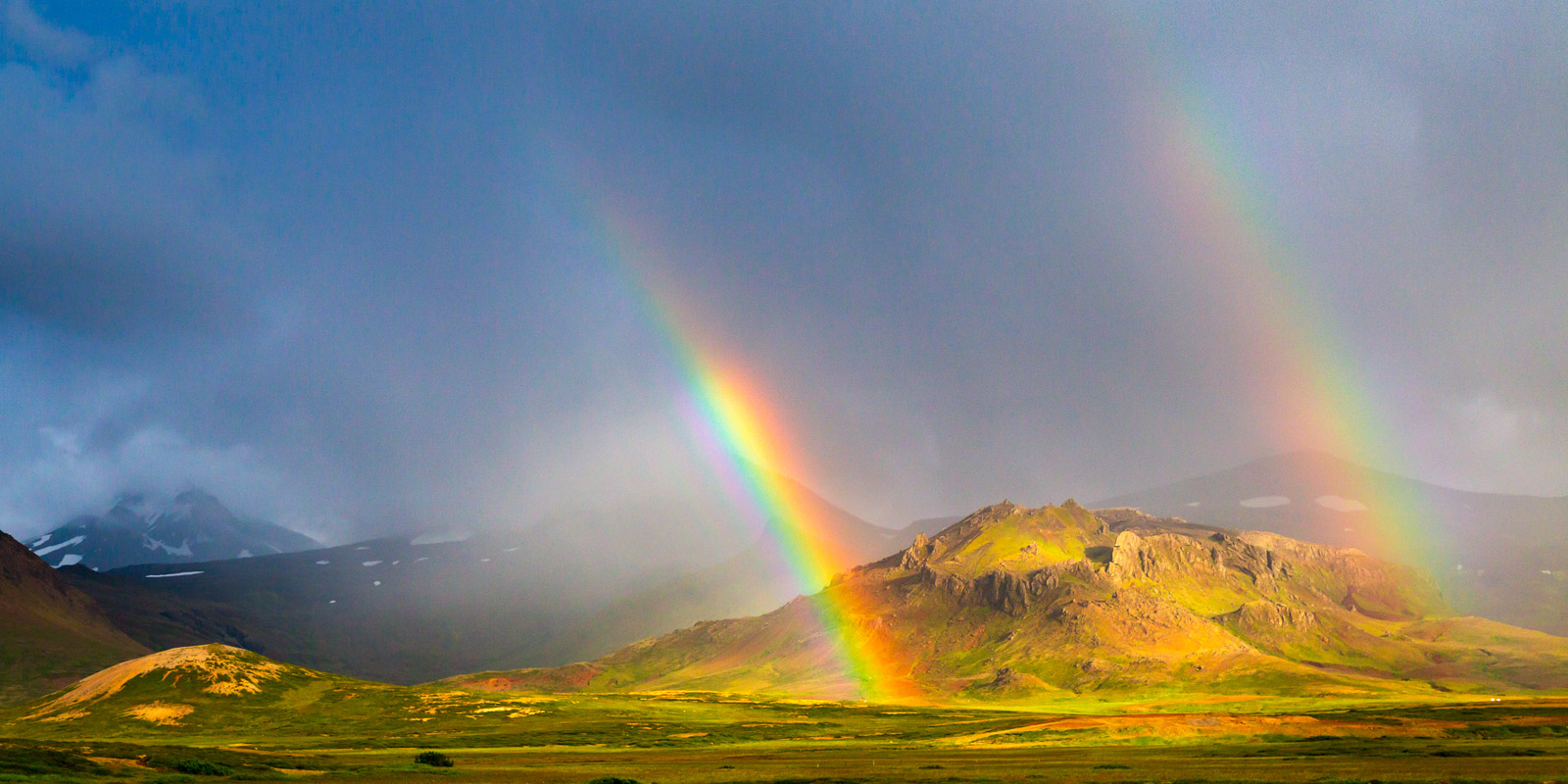 A Limited Edition, Fine Art photograph of a beautiful double rainbow over the mountains in Western Iceland.  Available as a Fine...