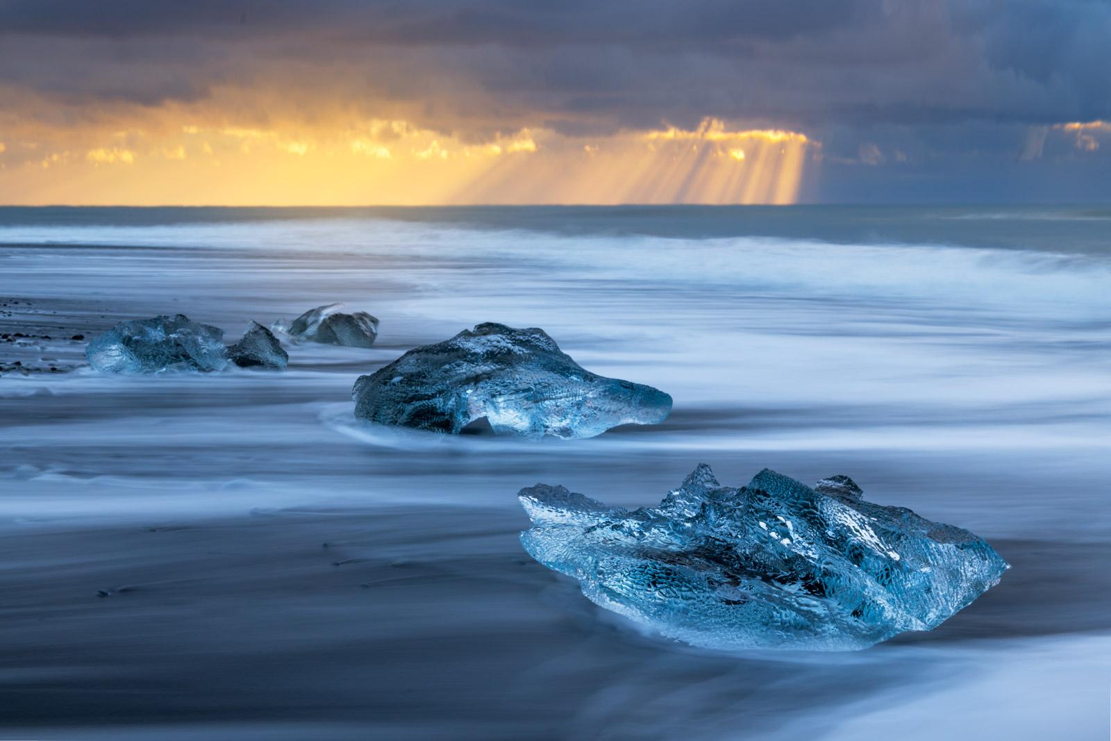 Iceland, Jokulsarlon, icebergs, lagoon, ocean, sunrise