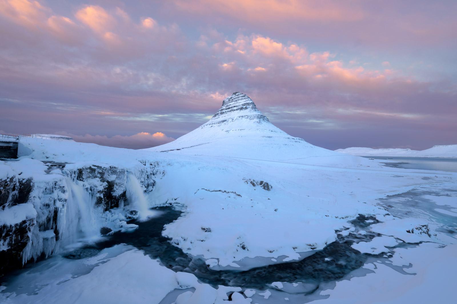 Iceland, Kirkjufell, kirkjufellfoss, waterfall, river, sunset, mountain