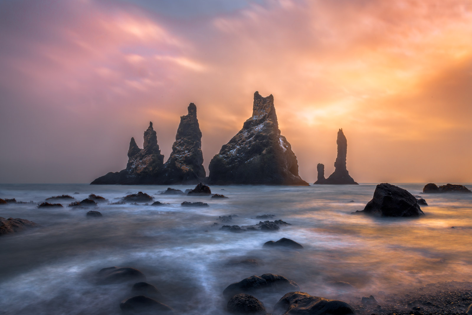 Iceland, Vik, Black, Rock, Beach, Sea, Stacks, Sunset