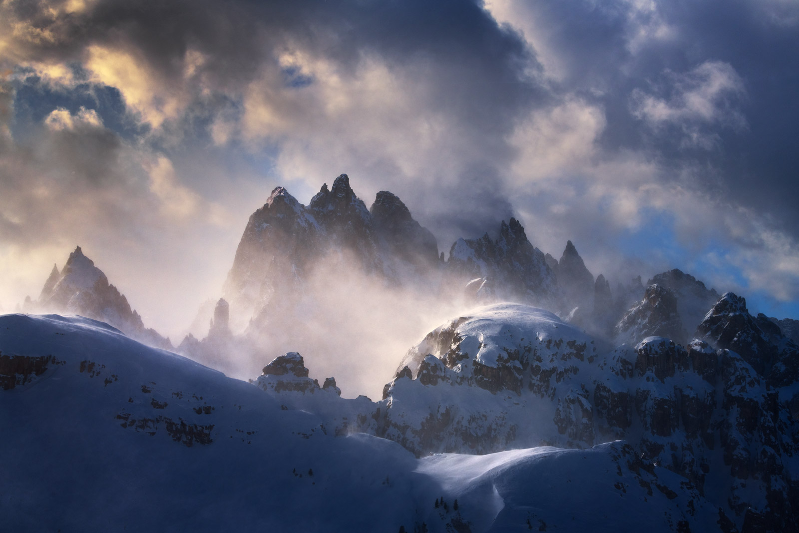 Italy, Dolomites, Mountains, Snowstorm, Winds, Snow