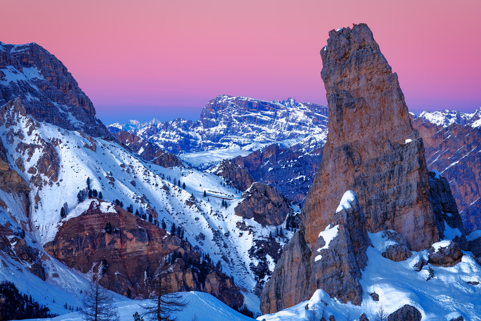Italy, Cinque, Torri, Cinque Torri, Sunrise, Dolomite, Mountains, Snow, Winter, Snow, Venus Belt