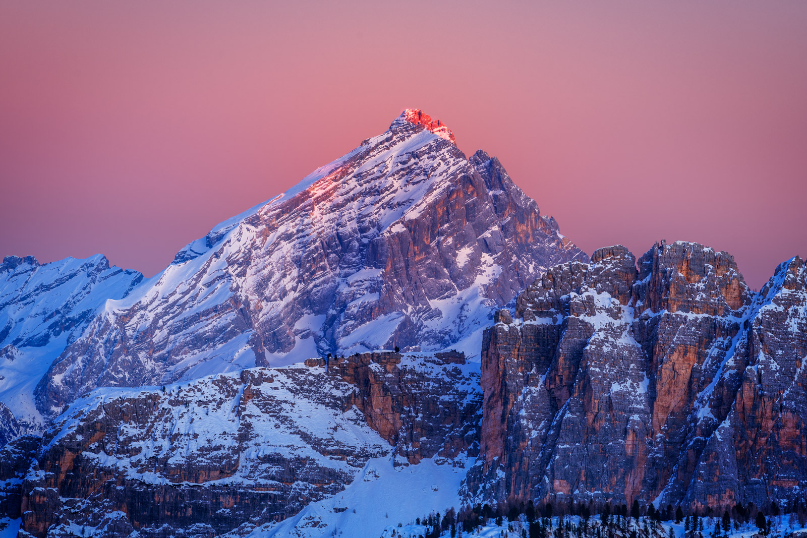 Italy, Dolomite, Mountains, Sunrise, Snow, Sandstone