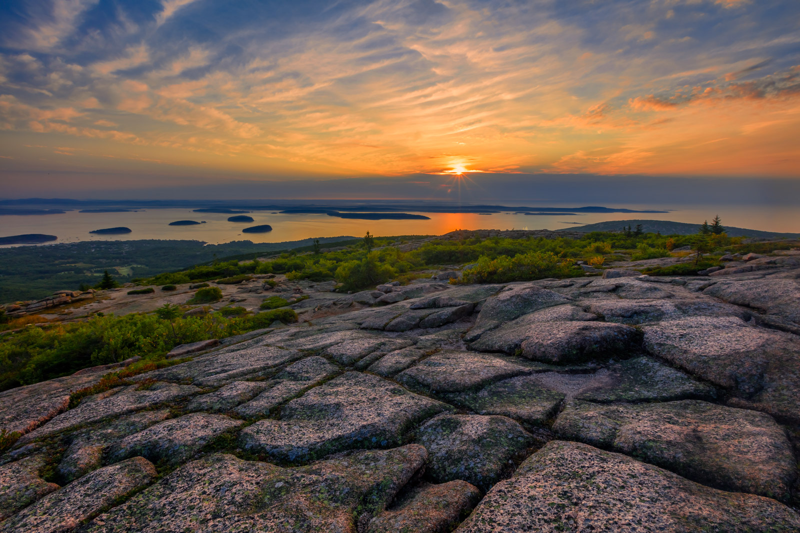maine, acadia, bar harbor, Cadillac mountain, sunrise