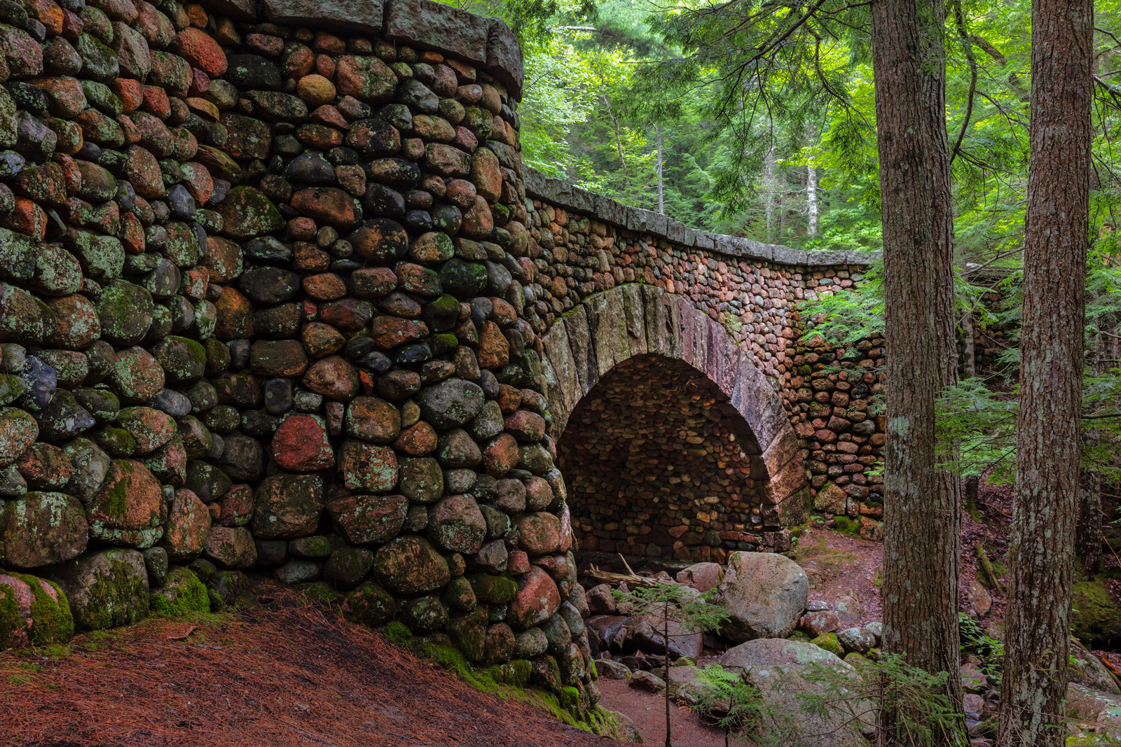 maine, acadia, cobblestone, bridge