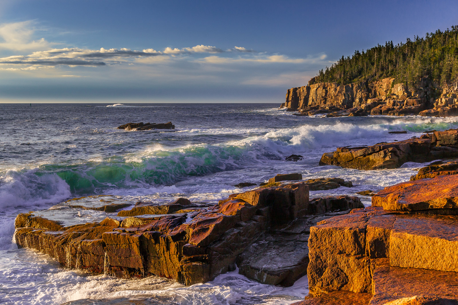 maine, acadia, sunrise, coast, rocky, photo