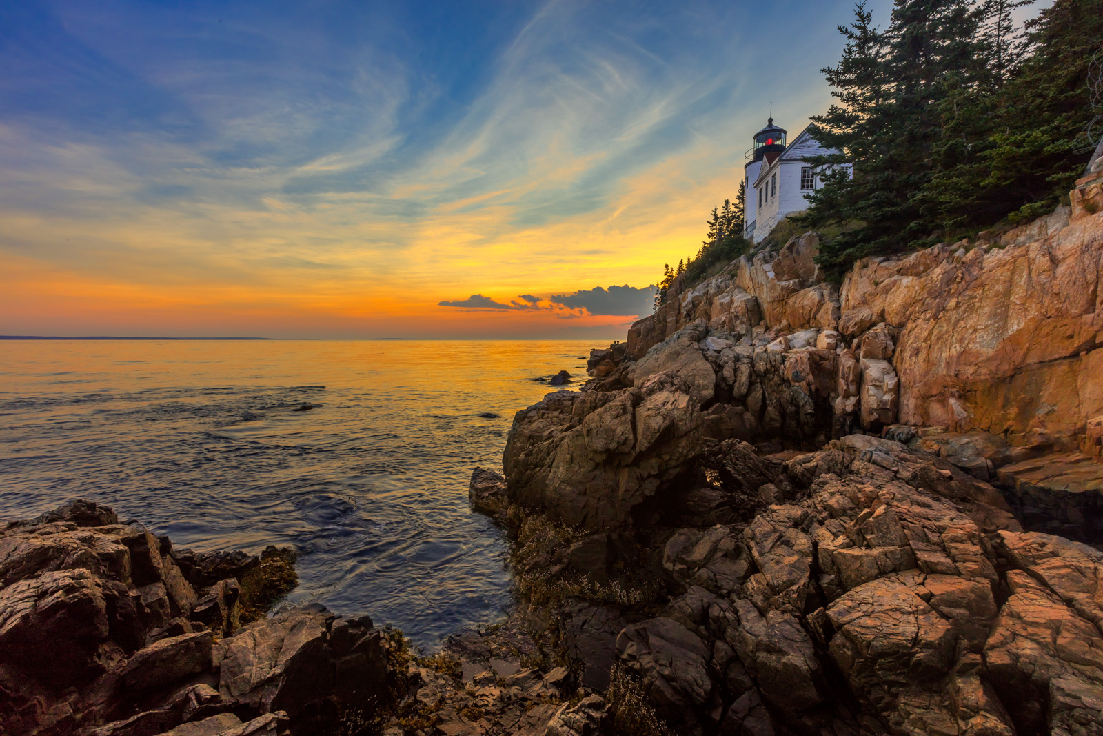 maine, acadia, sunset, bass harbor, lighthouse