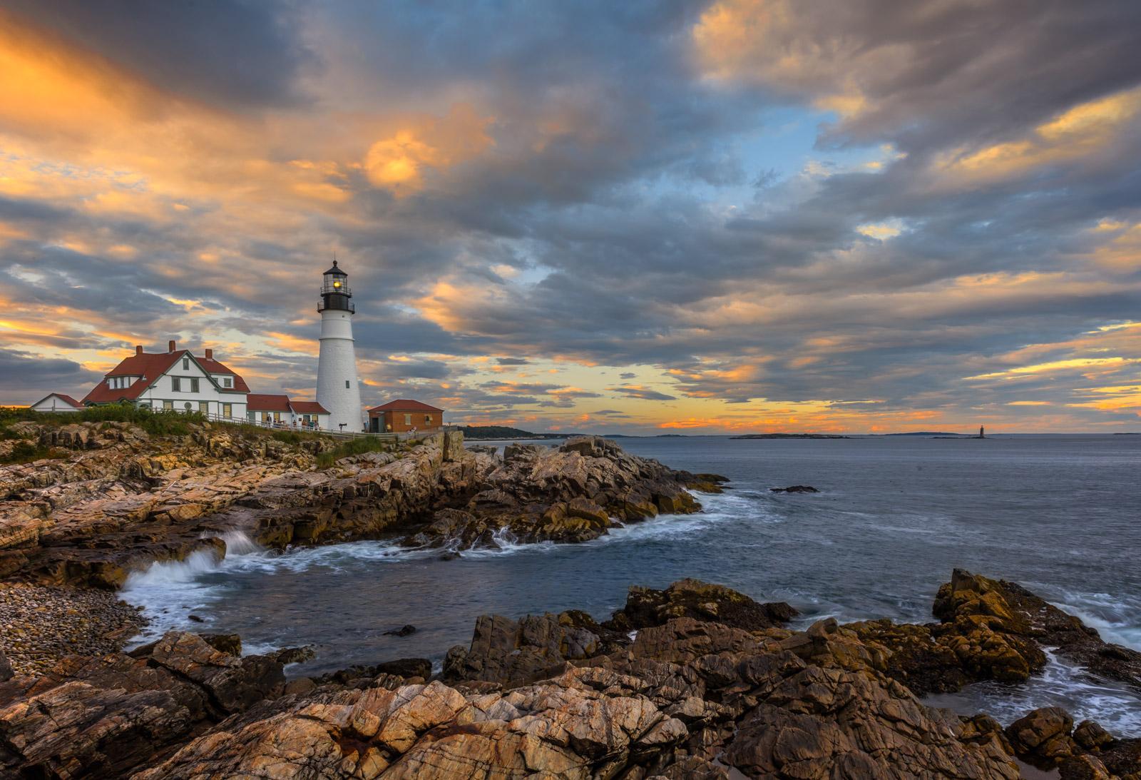 Maine, Portland, Portland Head, Lighthouse, sunset