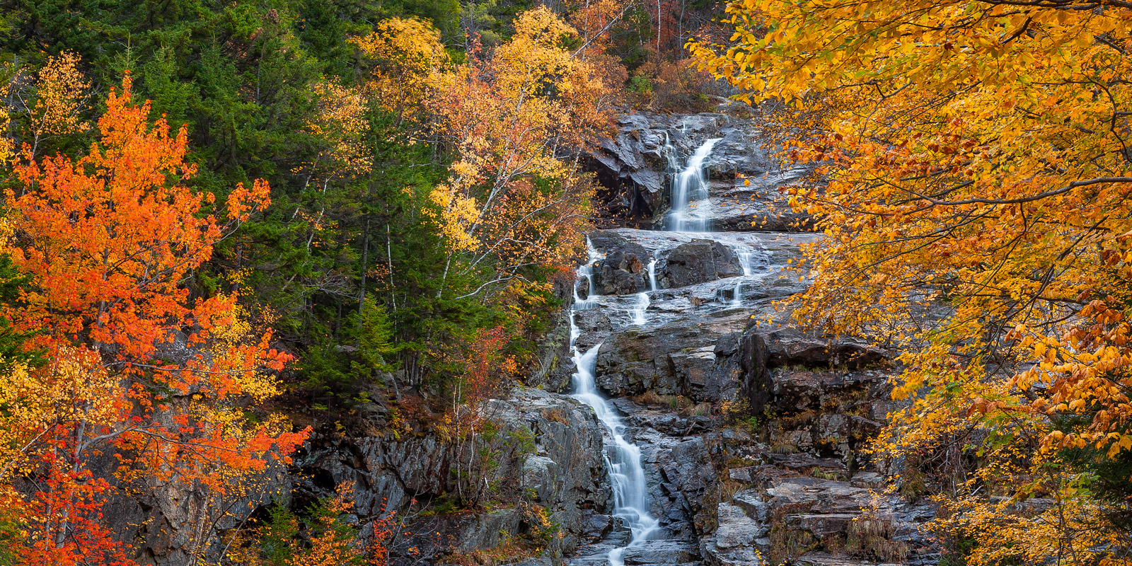 New Hampshire, Crawford Notch, Silver Cascade, Waterfall, Fall, Color, fall color, photo