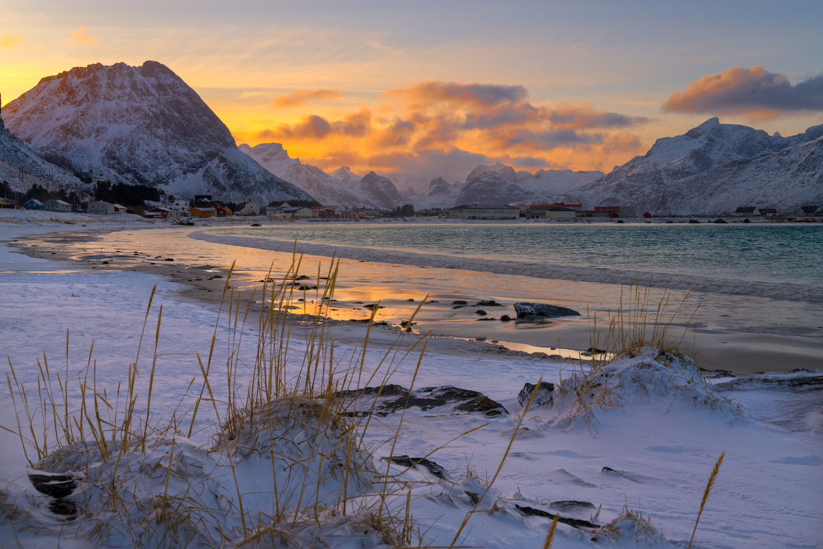 Norway, lofoten, Rahmberg, Beach, Sunset
