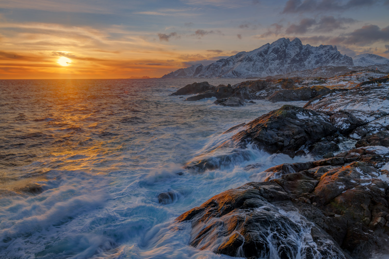 Norway, Lofoten, Sunset, Coast, Mountain, photo