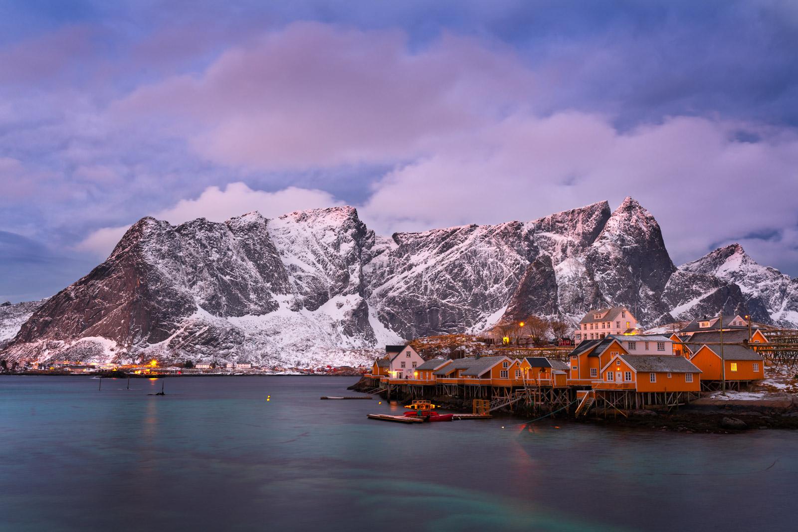 Norway, Lofoten, Hamnoy, Mountains, cabins, photo