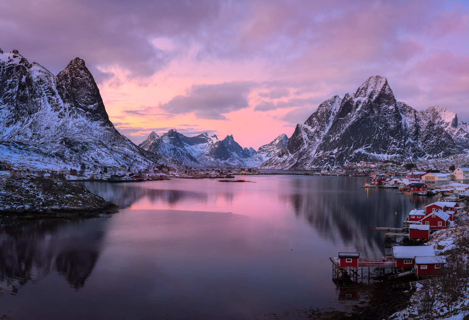 Norway, Lofoten, Renie, Mountains, Reflection, Sunset