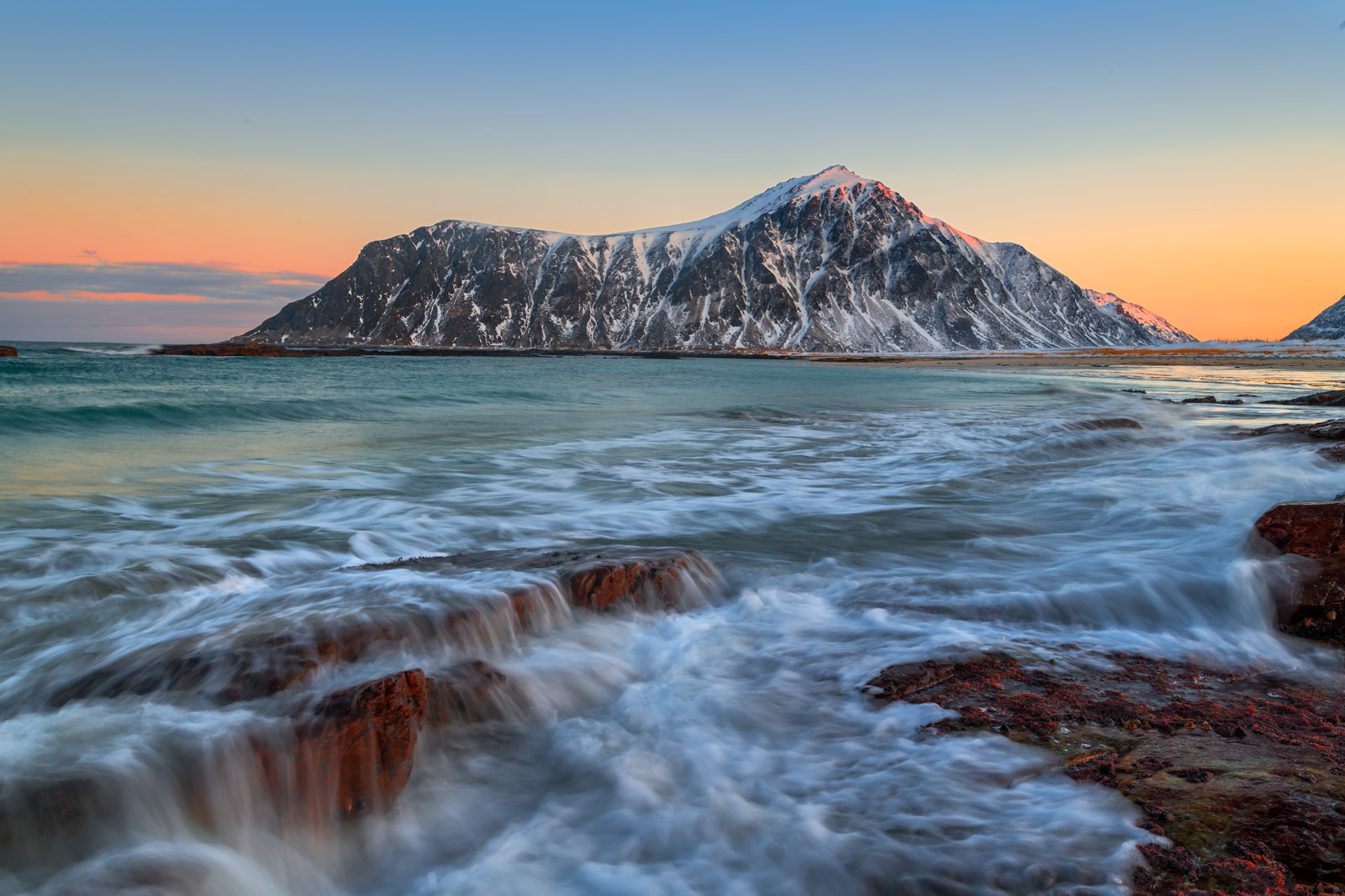 Norway, Lofoten, Skagsanden, Beach, Sunrise