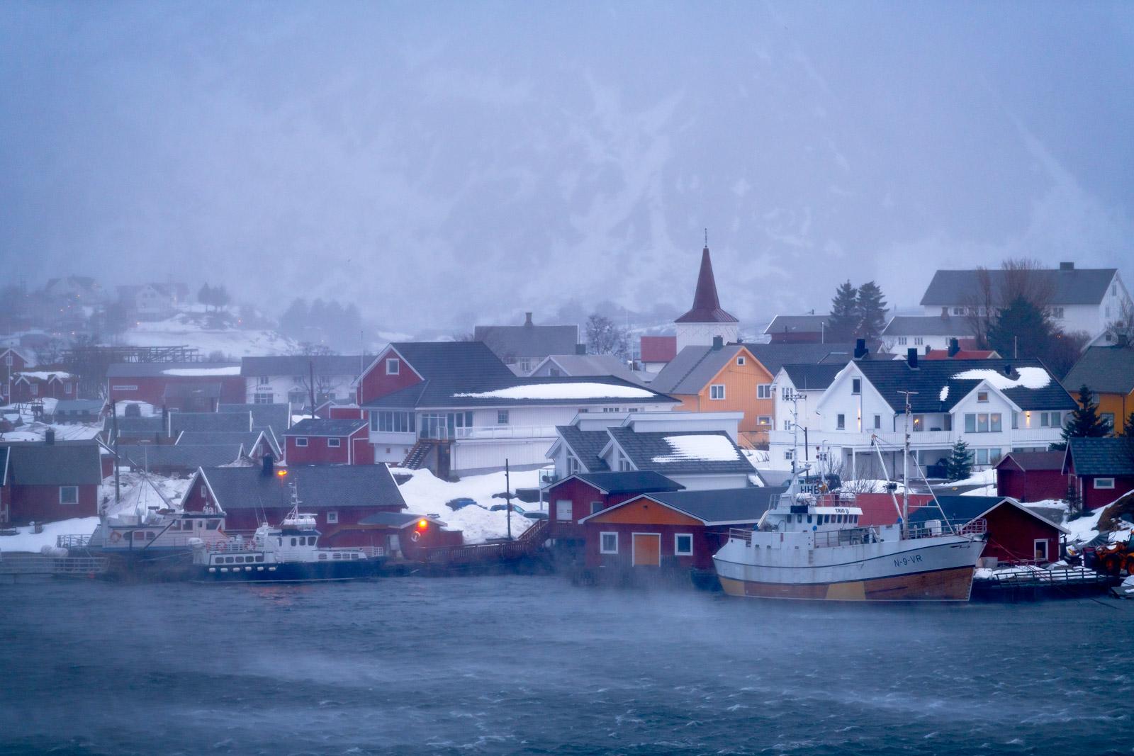 Norway, Reine, Harbor, Storm, Lofoten Islands, photo