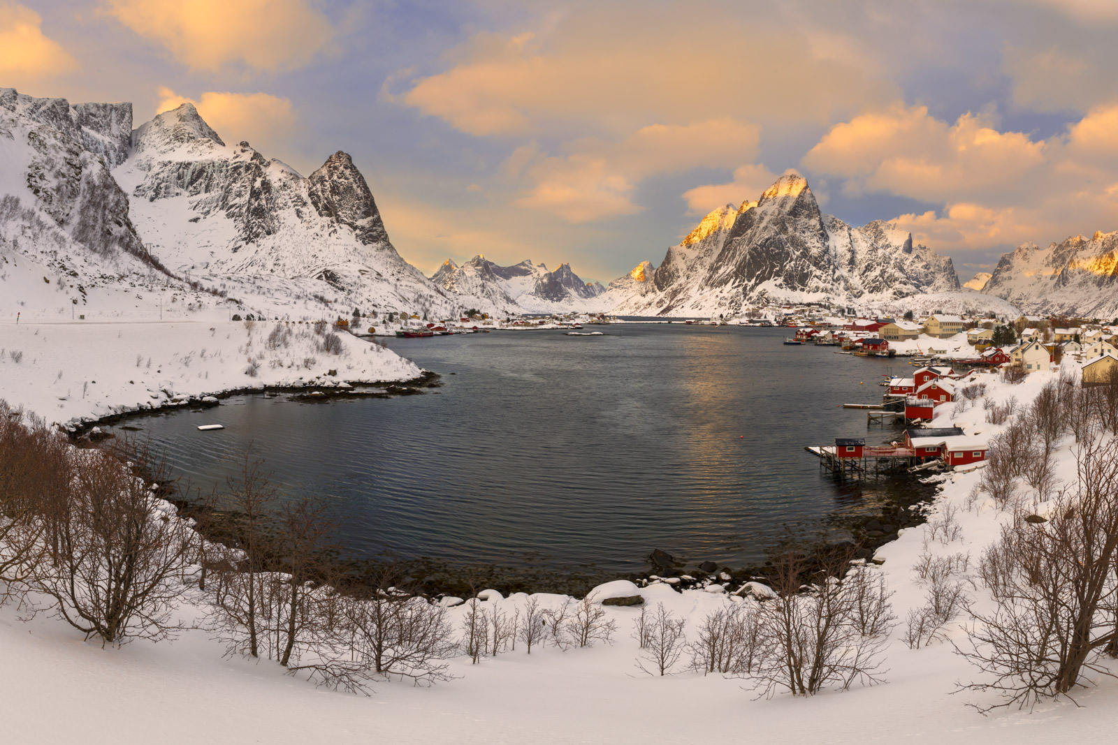 Norway, Lofoten, Reine, Morning, Snowfall, limited edition, photograph, fine art, landscape, photo