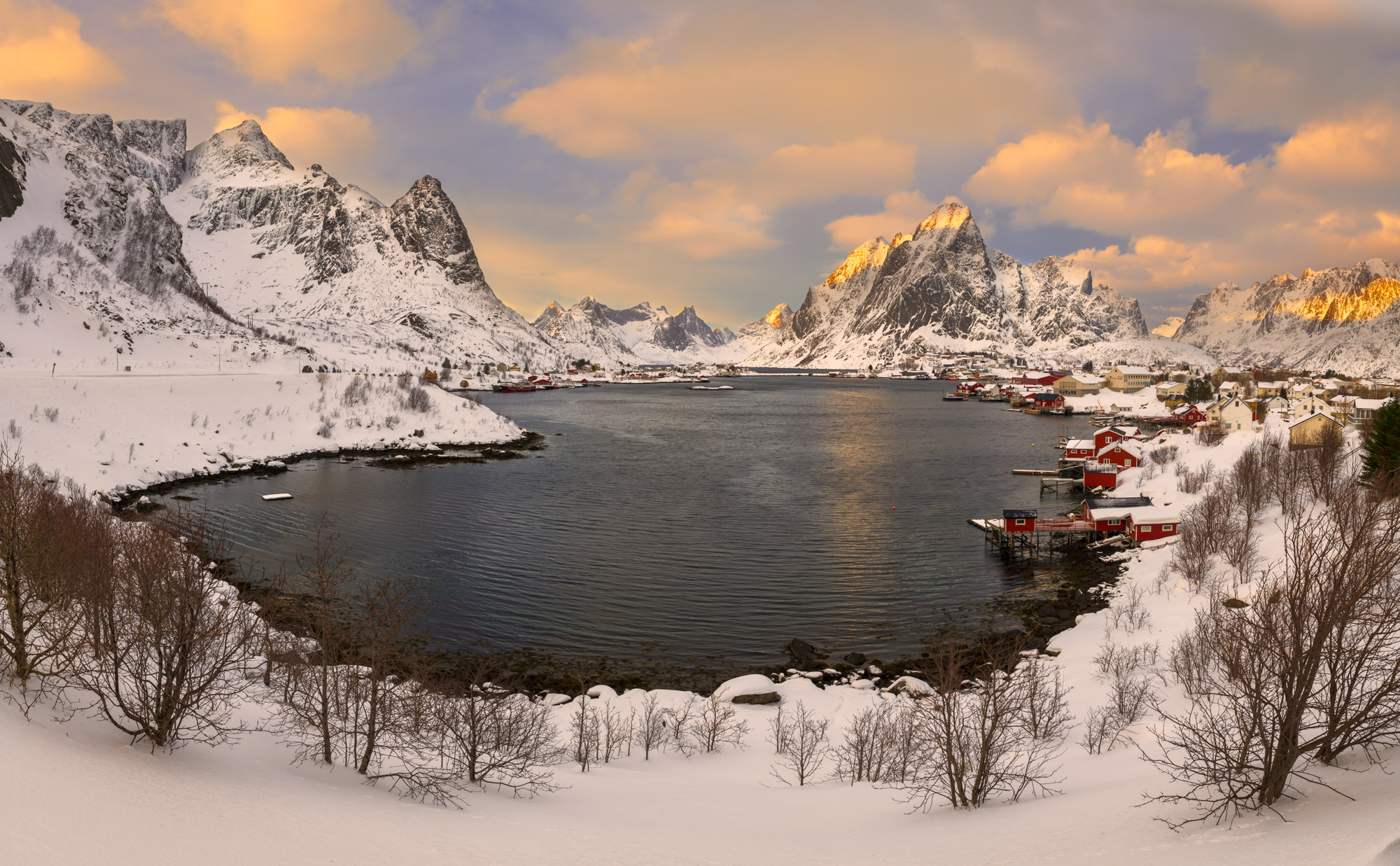 Norway, Lofoten, Reine, Morning, Snowfall