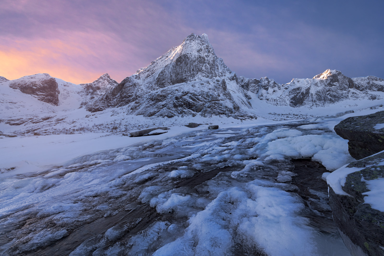 Norway, Lofoten, Mountain, Winter, Waterfall, Stream